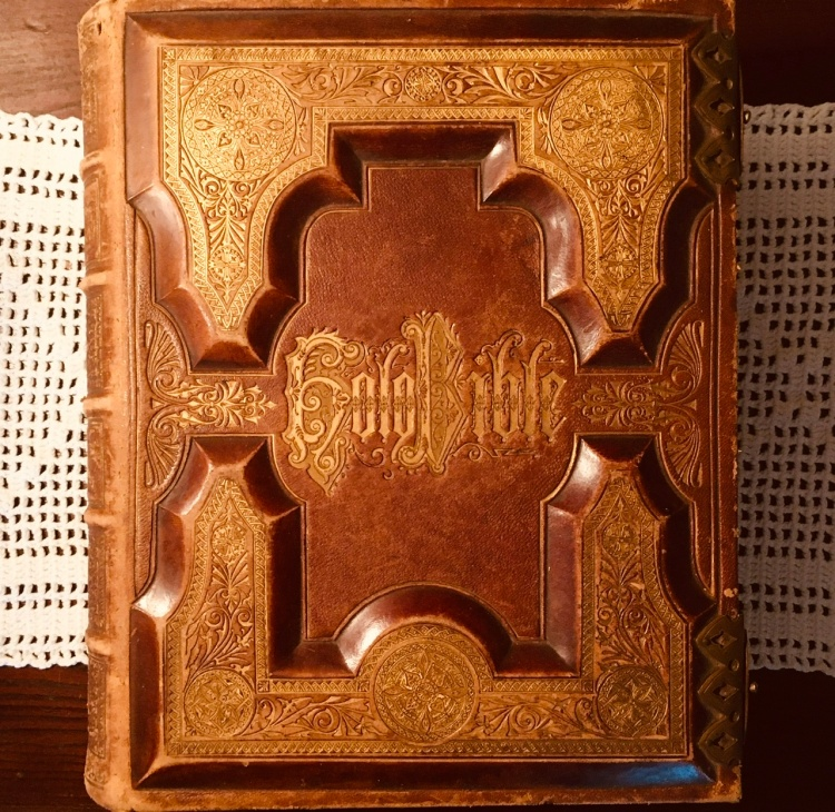 Bible belonging to Laughlin P. Farris, (December 23, 1843 – December 9, 1925). White's Cove, New Brunswick, Canada.